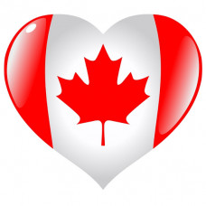 Canada Flag Heart Shaped Temporary Tattoo