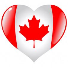 Canada Flag Heart Shaped Temporary Tattoo
