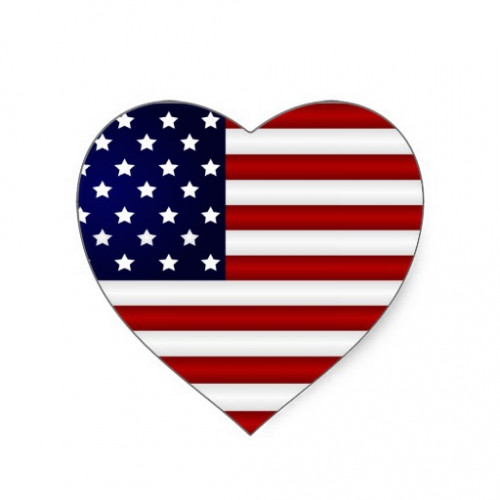 USA Flag Heart Shaped Temporary Tattoo
